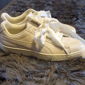 Iridescent White Puma Basket Sneakers